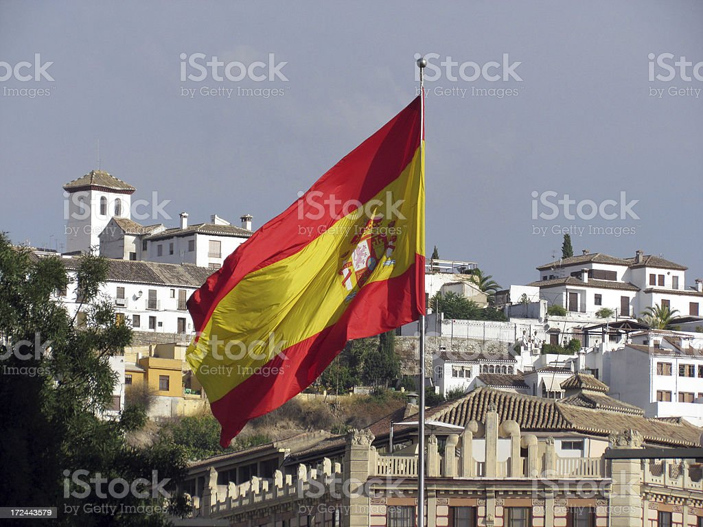Spain Flag in Granada royalty-free stock photo