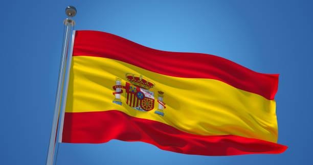 bandera de españa en el viento contra el cielo azul claro, ilustración 3d - andalusian flag fotografías e imágenes de stock