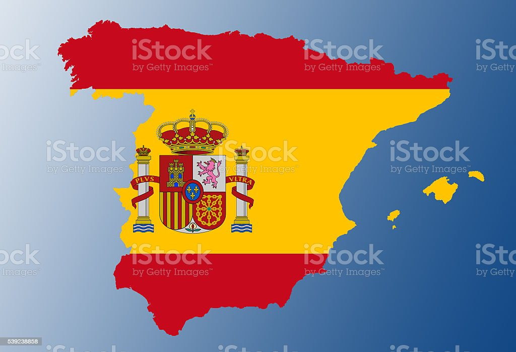 Spain flag map royalty-free stock photo