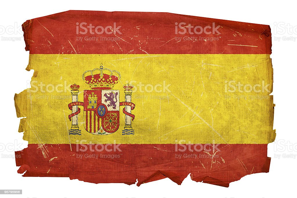 Spain Flag old, isolated on white background royalty-free stock photo