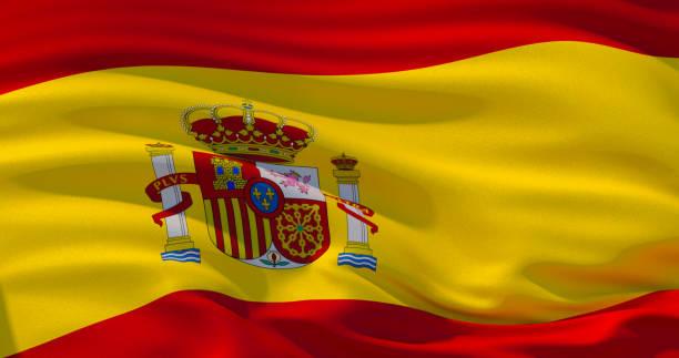 españa bandera patriótica fondo, ilustración 3d - andalusian flag fotografías e imágenes de stock