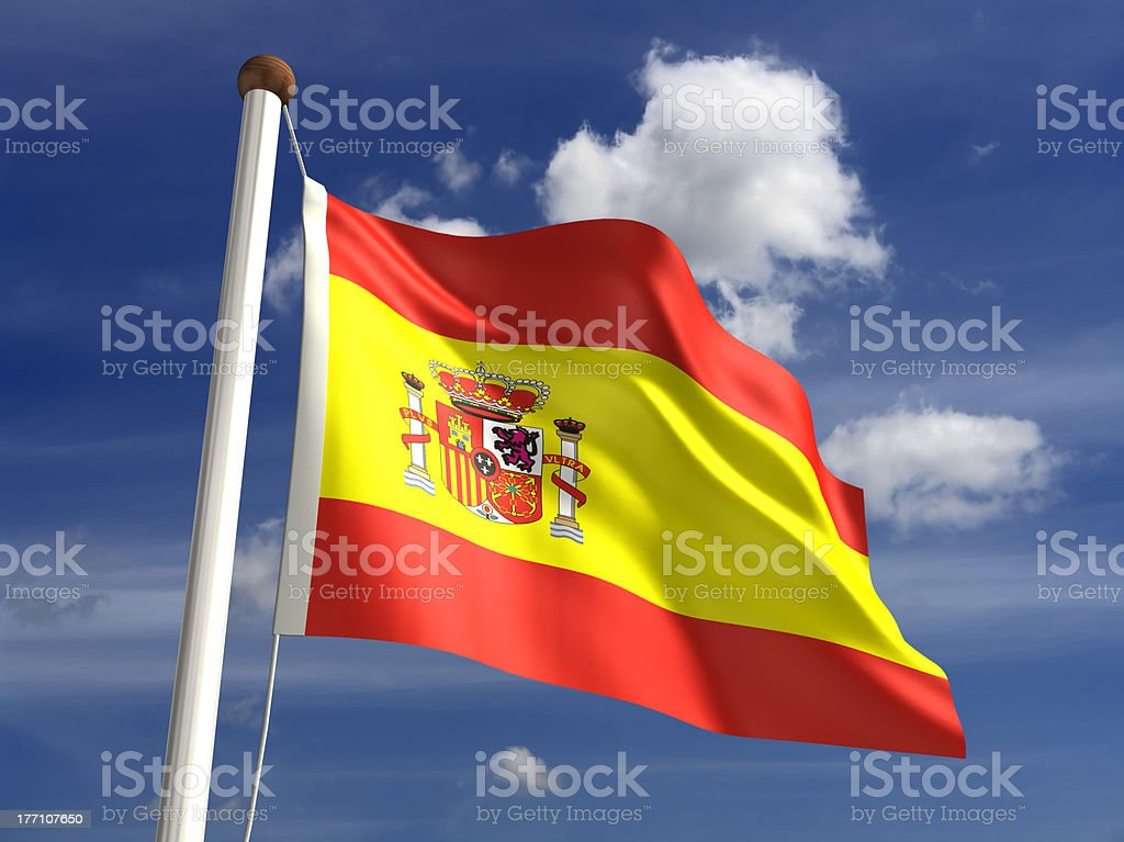 Spain flag (with clipping path) stock photo