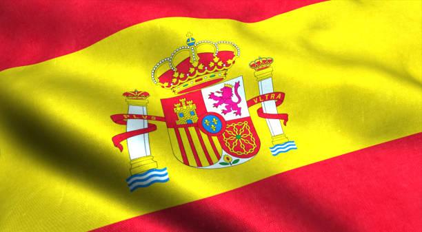 spanien flagga vinka i vinden - football portugal flag bildbanksfoton och bilder