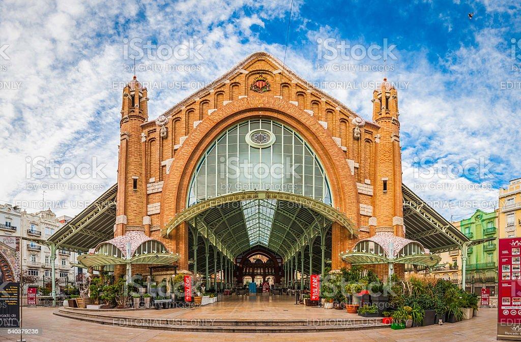 Spain historic city market hall Mercado Colon Valencia stock photo