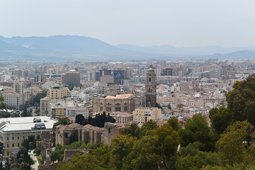 Spain. Malaga. Photo panorama of the historic city center. View of Santa Iglesia Catedral Basílica de la Encarnación