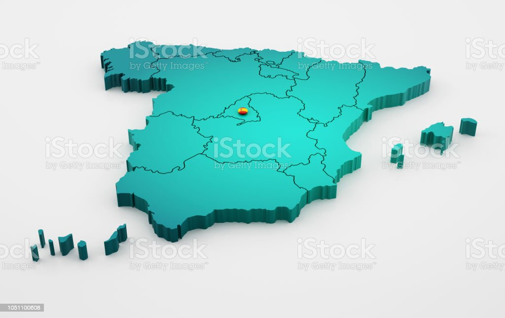 3d Map Of Spain.Spain Map 3d On White Background Stock Photo Download Image Now