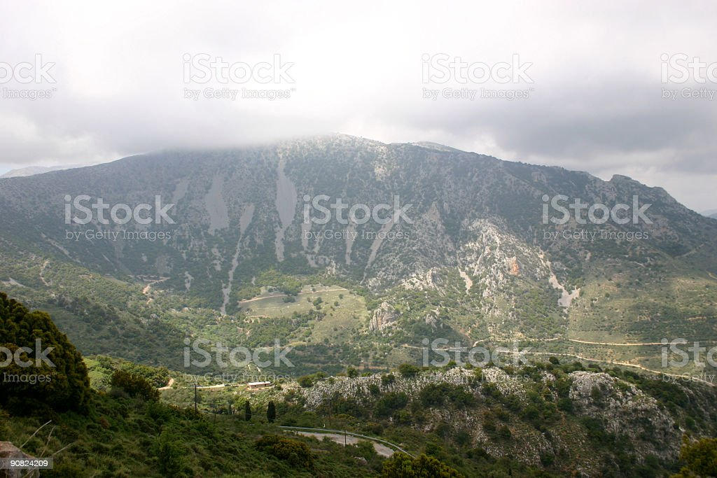 Spain Mountain View with Village in Valley stock photo