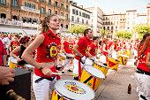 Pamplona Navarra Spain July 11 2015 S Firmino fiesta band playing drums in front of the famous cafè IRUNA for S. Firmino fiesta spanish school of samba fortaleza