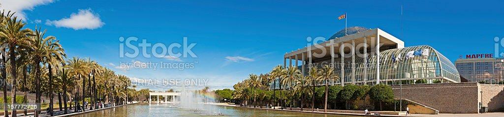 Spain Palau de la Música Jardín del Turia panorama Valencia stock photo