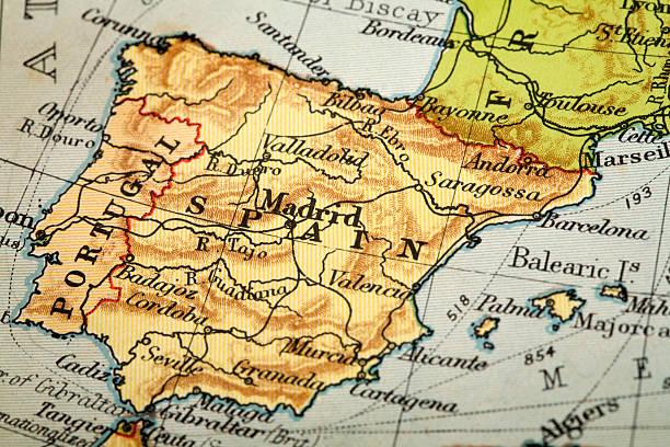 a espanha - portugal map imagens e fotografias de stock