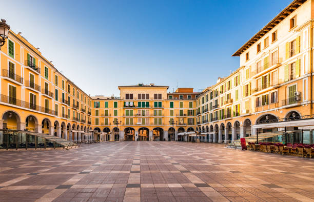 Spain, Plaza de Mayor at the old town of Palma de Mallorca Idyllic view of Plaza de Mayor of Palma de Majorca, Spain Balearic Islands town square stock pictures, royalty-free photos & images