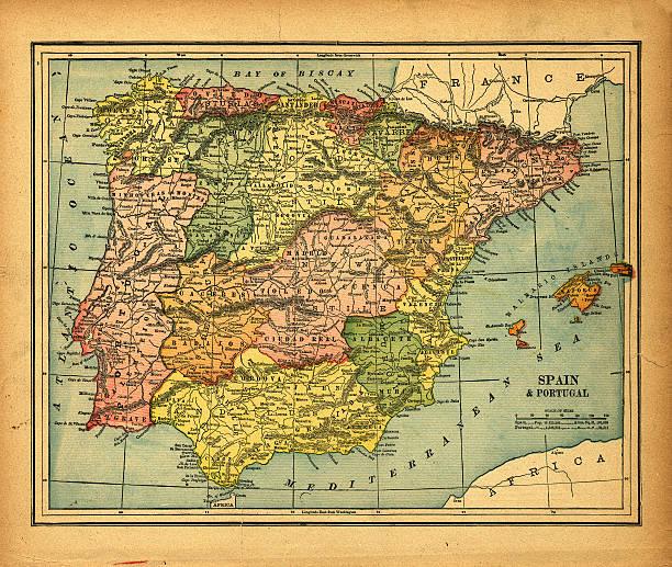 espanha & portugal vintage mapa - portugal map imagens e fotografias de stock