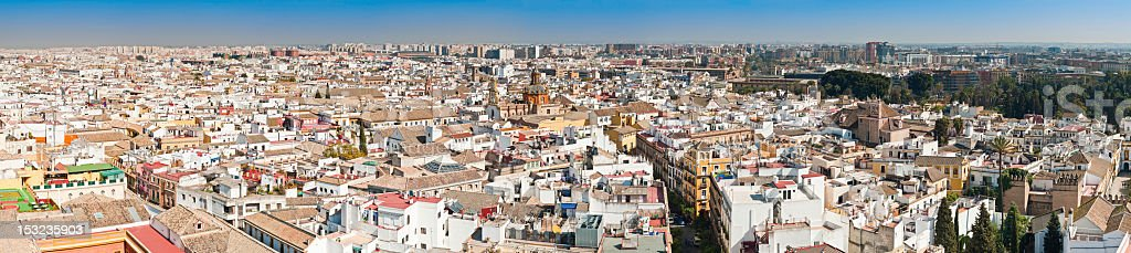 Spain rooftop cityscape whitewashed villas terraces and landmarks Seville Andalusia stock photo