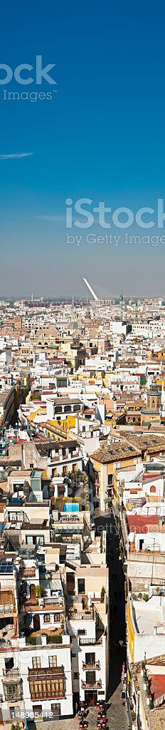 Spain rooftops crowded cityscape vertical stock photo