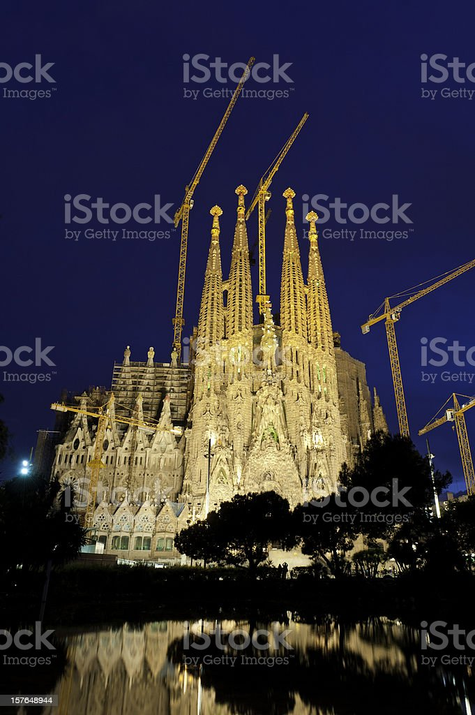 Spain Sagrada Família Gaudí cathedral illuminated blue dusk L'Eixample Barcelona royalty-free stock photo
