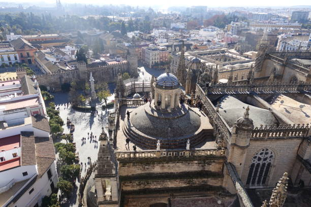Spain sky view Scenery and sky viewed from the observatory of the Spanish cathedral santa cruz seville stock pictures, royalty-free photos & images
