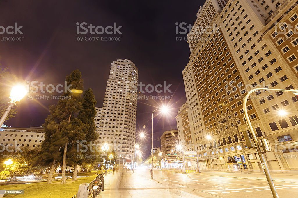Spain Square at Madrid in night royalty-free stock photo