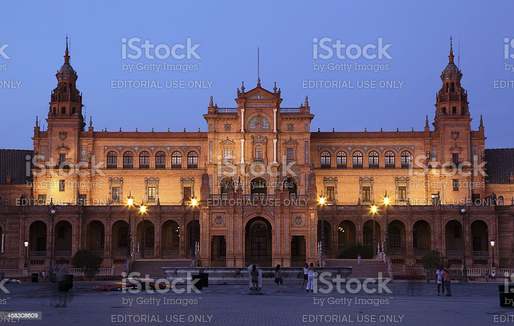 Spain square at night, Seville royalty-free stock photo