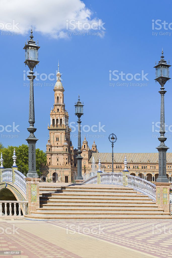 Spain Square in Seville in a summer day royalty-free stock photo