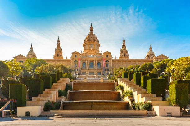 Spain square or Placa De Espanya, Barcelona, Spain stock photo