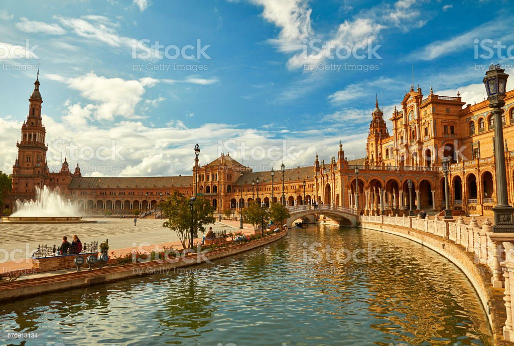 Spain Square (Plaza de Espana). Seville, Spain. stock photo