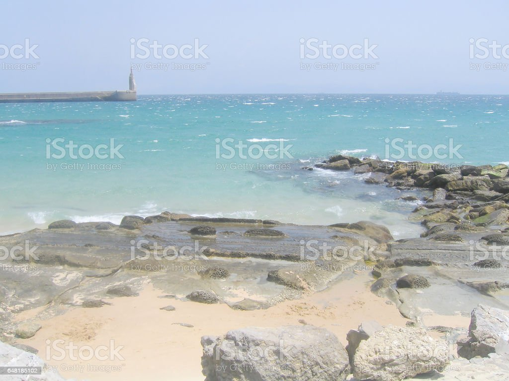 Spain, Tarifa, the Atlantic coast and views on Africa stock photo