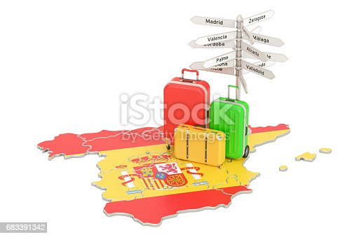 istock Spain travel concept. Spanish flag on map with suitcases and signpost, 3D rendering 683391342