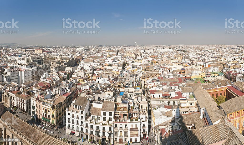 Spain villas plazas cityscape rooftops Seville stock photo