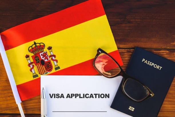 Spain visa application stock photo