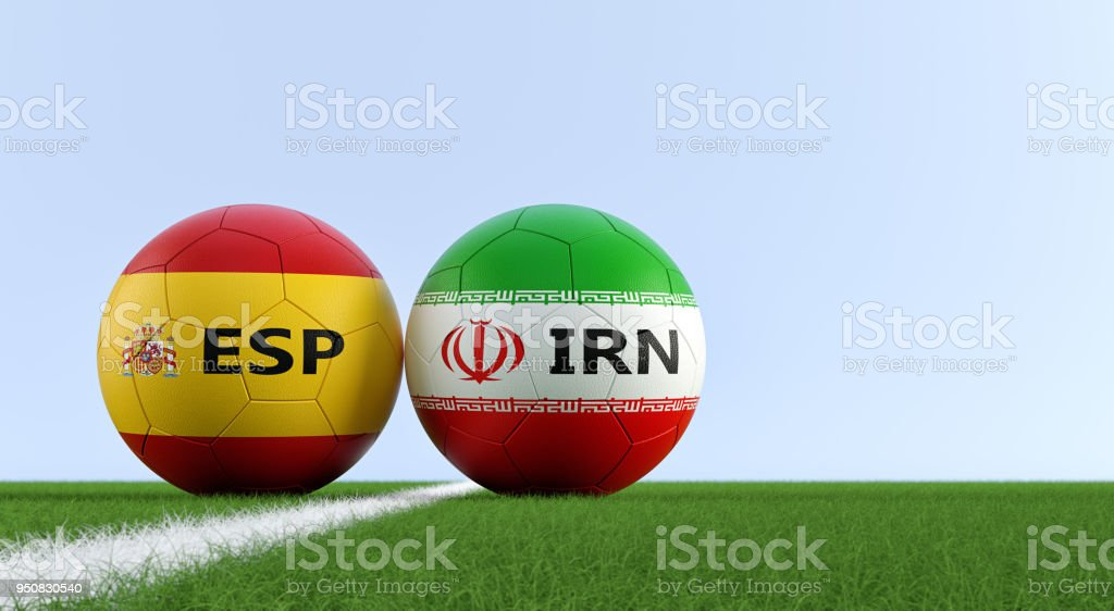 Spain Vs Iran Soccer Match Soccer Balls In Spain And Iran National Colors On