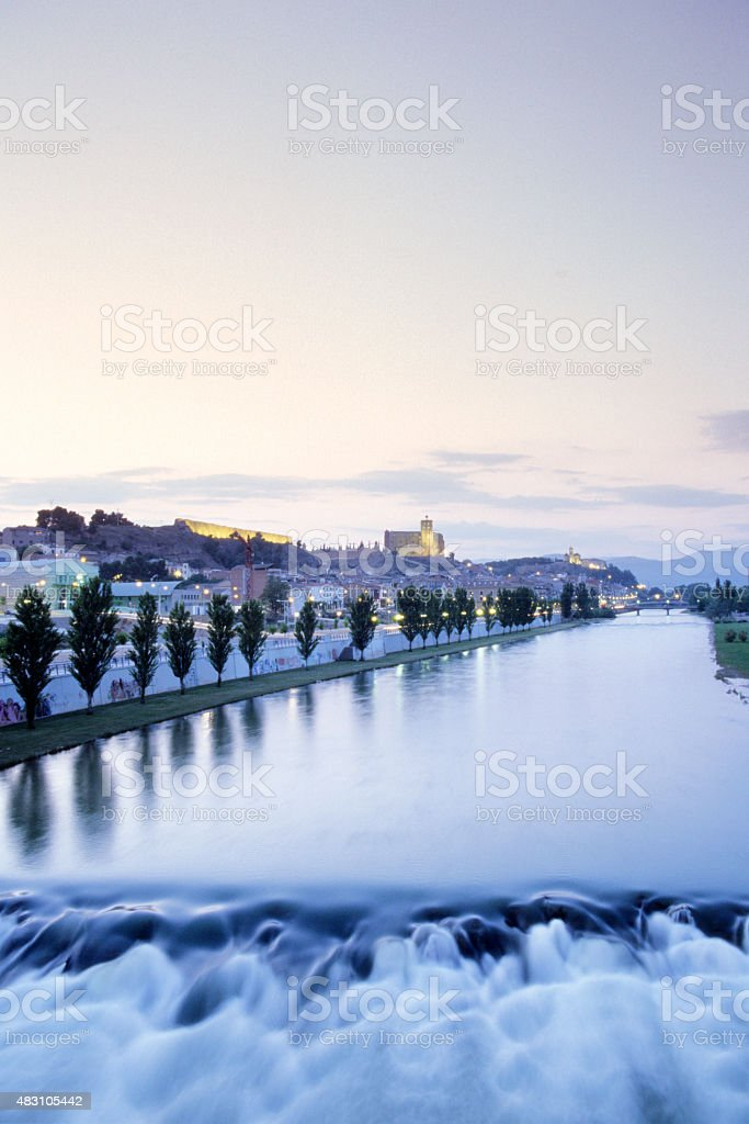 Spain,Balaguer,View of river with town in background stock photo