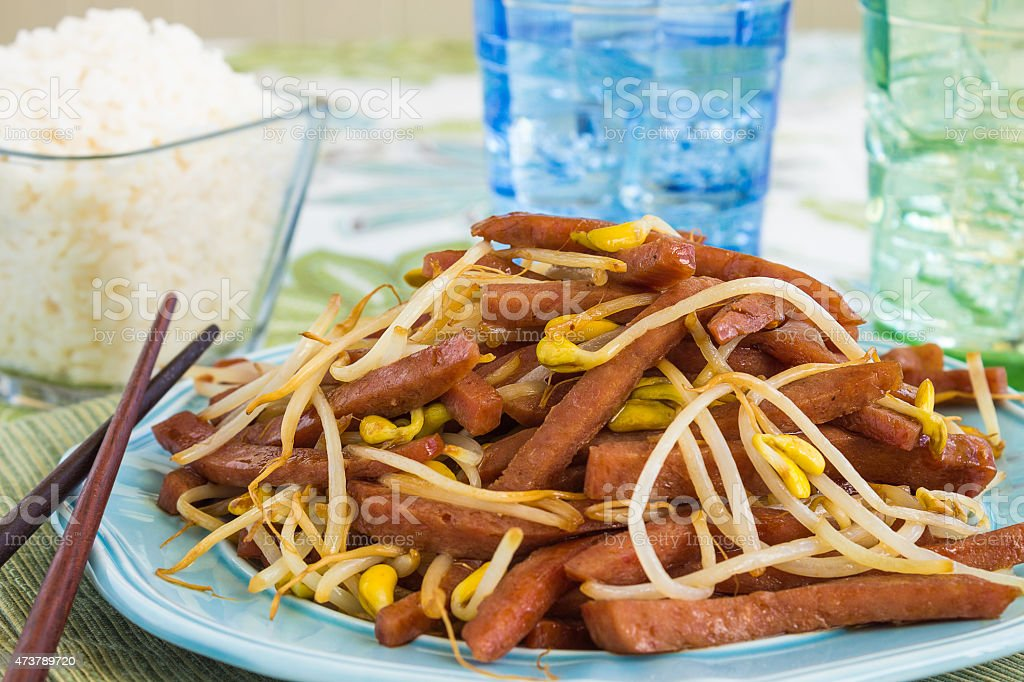 Spam Bean Sprout Stir Fry stock photo