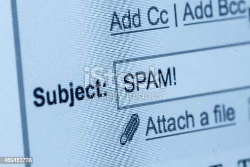 Close up of a spam mail