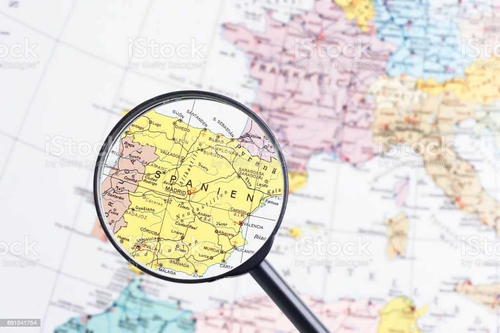 Carte Europe West.Span On Map West Europe Stock Photo Download Image Now