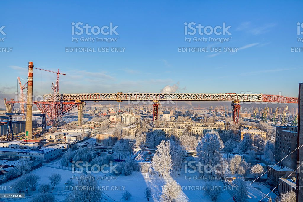Two-level highway bridge flyover through the Sea Canal in...