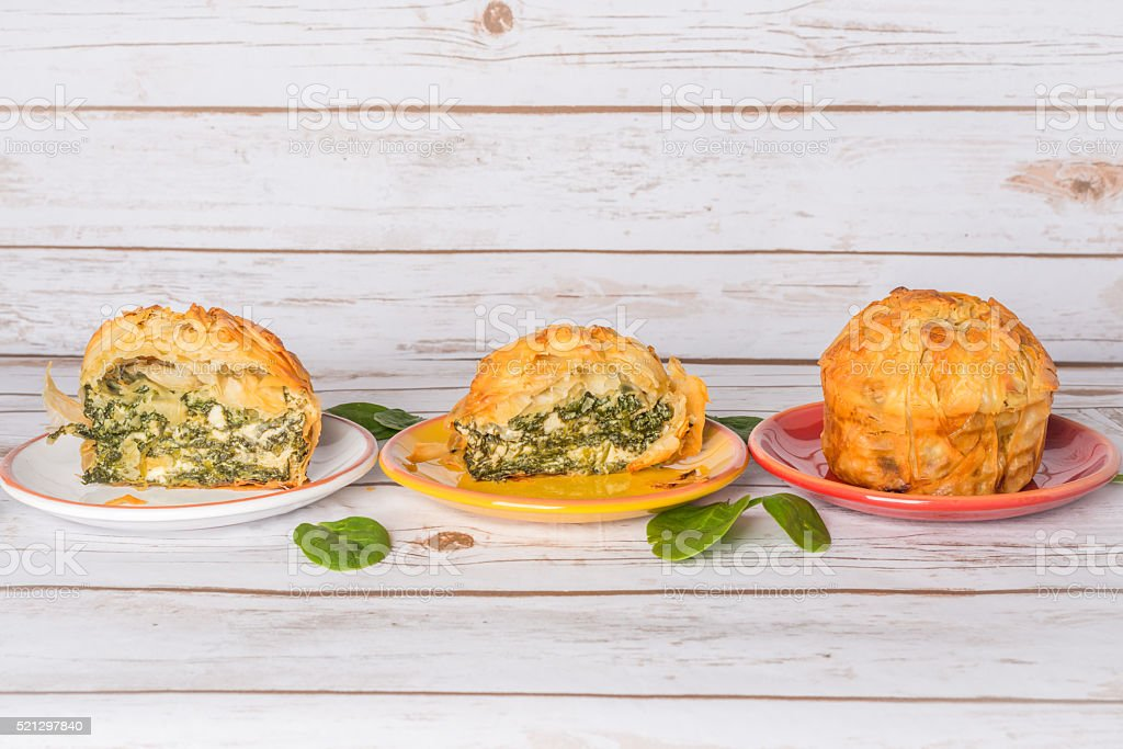 Spanakopita - Greek spinach pie with feta and ricotta stock photo