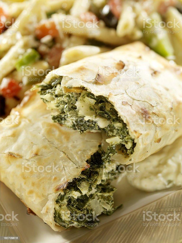 Spanakopita with Greek Pasta Salad royalty-free stock photo