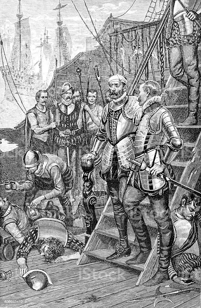 Spaniards on ship - Sir Richards Grenville's Last Fight stock photo