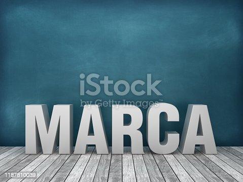 1140385944 istock photo MARCA Spanish 3D Word on Chalkboard Background - 3D Rendering 1187810039