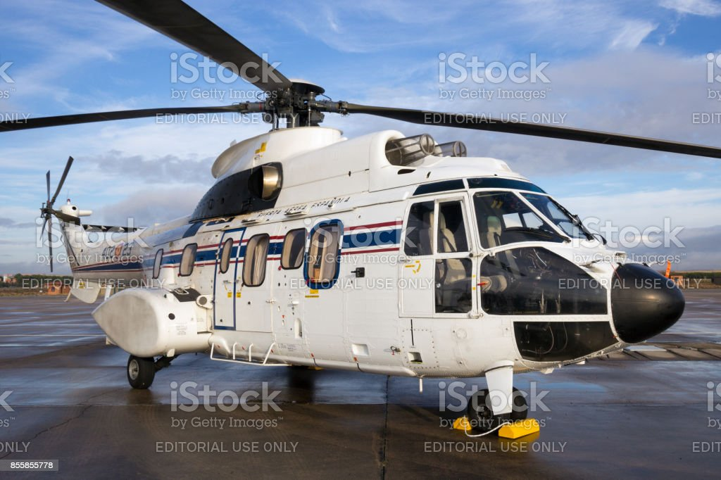 Spanish air force Cougar VIP helicopter. stock photo