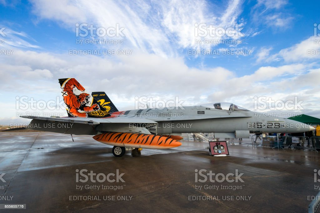 Spanish Air Force F/A-18 Hornet fighter jet stock photo