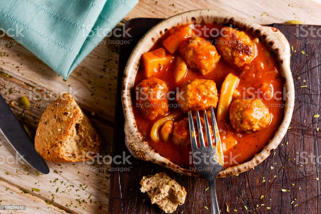 spanish albondigas con sepia, meatballs with cuttlefish stock photo
