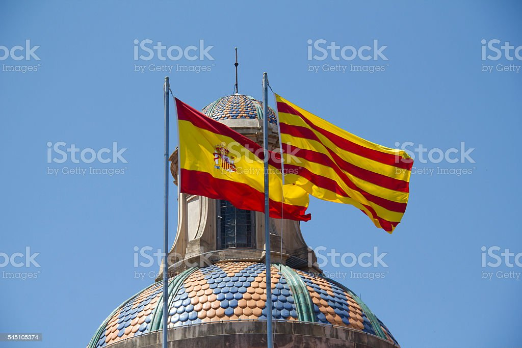 Spanish and Catalan Flag stock photo