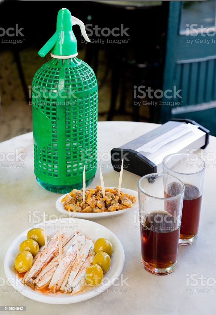 Spanish appetizer in old bar stock photo