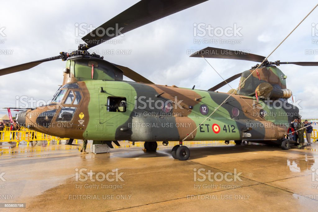 Spanish Army Chinook helicopter stock photo