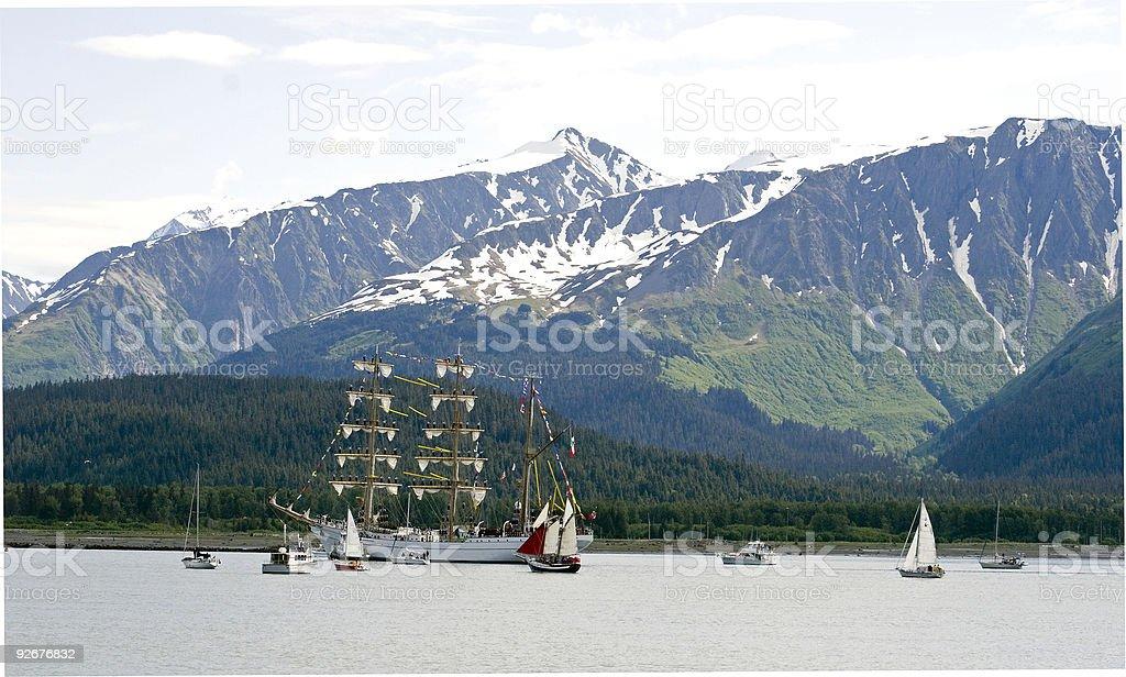 Spanish Barque sails into Seward Alaska stock photo
