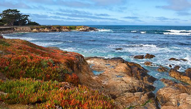 spanish bay, monterey peninsula panorama - central coast california stock photos and pictures