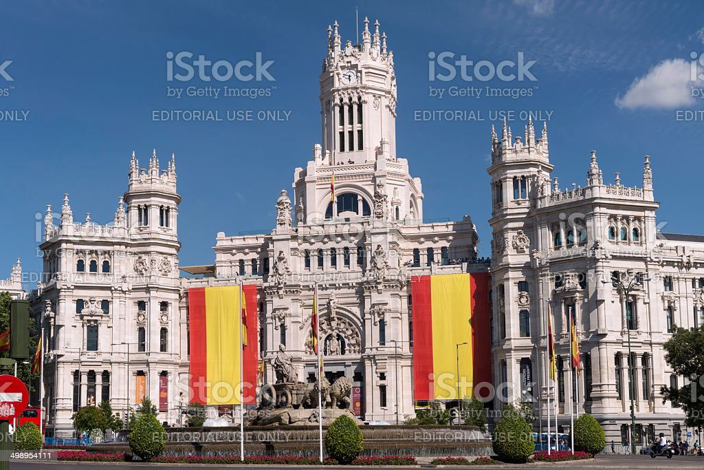 Spanish building. Cibeles Square, Madrid , Spain stock photo