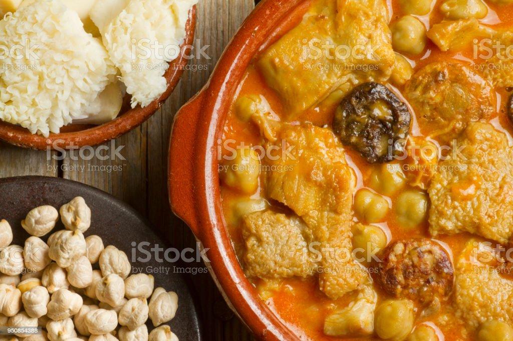Spanish callos with chickpeas stock photo
