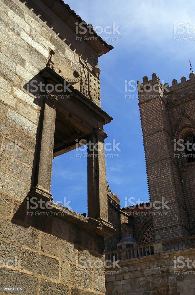 Spanish cathedral and balcony royaltyfri bildbanksbilder